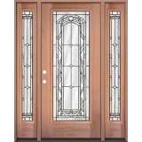 Full Lite Mahogany Wood Door Unit with Sidelites #292