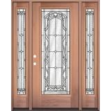 Full Lite Mahogany Wood Door Unit with Sidelites #292