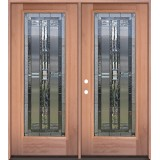 Full Lite Mahogany Wood Double Door Unit #297