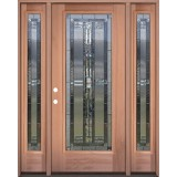 Full Lite Mahogany Wood Door Unit with Sidelites #297