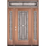 Full Lite Mahogany Wood Door Unit with Transom #297