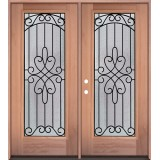 Full Lite Mahogany Wood Double Door Unit #299