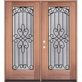 Full Lite Mahogany Wood Double Door Unit #299