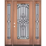 Full Lite Mahogany Wood Door Unit with Sidelites #299
