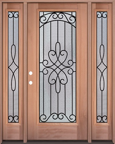 Full Lite Mahogany Wood Door Unit with Sidelites #299