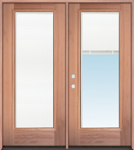 Full Mini-blind Mahogany Wood Double Door Unit