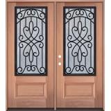 3/4 Iron Grille Mahogany Wood Double Door Unit #62