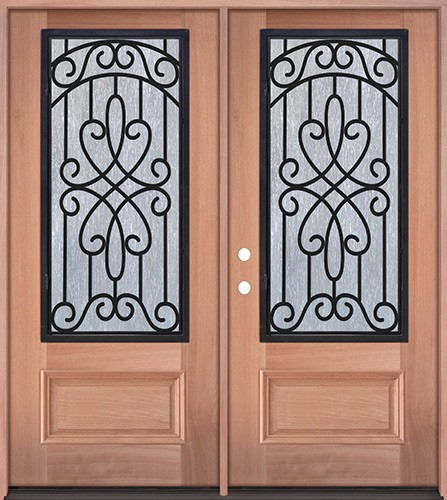 3/4 Iron Grille Mahogany Wood Double Door Unit #62