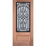 3/4 Iron Grille Mahogany Wood Door Slab #62