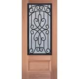 3/4 Iron Grille Mahogany Wood Door Slab #62