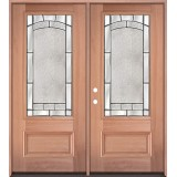 3/4 Lite Mahogany Wood Double Door Unit #67