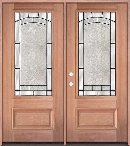 3/4 Lite Mahogany Wood Double Door Unit #67