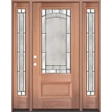 3/4 Lite Mahogany Wood Door Unit with Sidelites #67