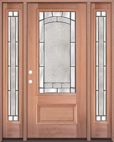 3/4 Lite Mahogany Wood Door Unit with Sidelites #67