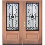 3/4 Iron Grille Texas Star Mahogany Wood Double Door Unit #75