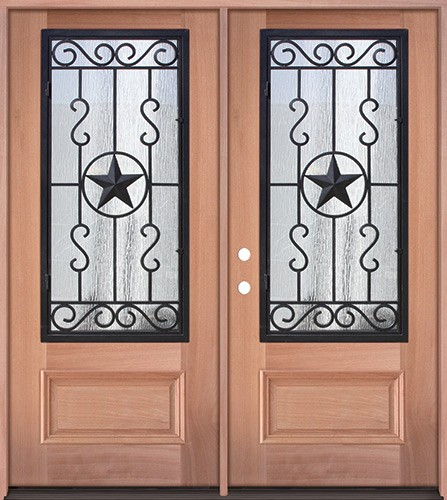 3/4 Iron Grille Texas Star Mahogany Wood Double Door Unit #75