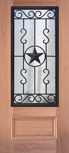 3/4 Iron Grille Texas Star Mahogany Wood Door Slab #75