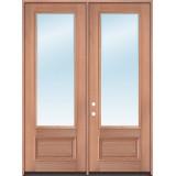 "8'0"" Tall 3/4 Lite Clear Low-E Mahogany Wood Double Door Unit"