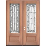 "8'0"" Tall 3/4 Lite Mahogany Wood Double Door Unit #292"