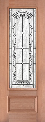 "8'0"" Tall 3/4 Lite Mahogany Wood Door Slab #292"