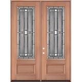 "8'0"" Tall 3/4 Lite Mahogany Wood Double Door Unit #297"