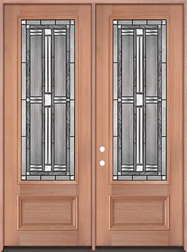 "8'0"" Tall 3/4 Lite Mahogany Wood Double Door Unit #297"