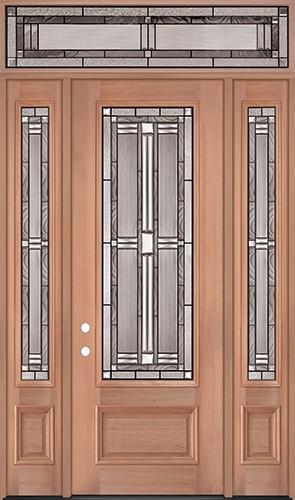 "8'0"" Tall 3/4 Lite Mahogany Wood Door Unit with Transom #297"