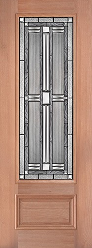 "8'0"" Tall 3/4 Lite Mahogany Wood Door Slab #297"