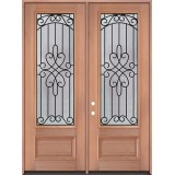 "8'0"" Tall 3/4 Lite Mahogany Wood Double Door Unit #299"