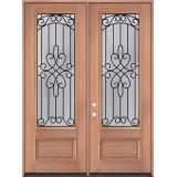 "8'0"" Tall 3/4 Lite Mahogany Wood Double Door Unit #299"