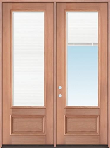 "8'0"" Tall 3/4 Mini-blind Mahogany Wood Double Door Unit"