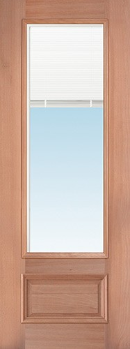 "8'0"" Tall 3/4 Mini-blind Mahogany Wood Door Slab"