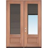 "Slate 8'0"" Tall 3/4 Mini-blind Mahogany Wood Double Door Unit"