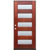 Modern 5-Lite Mahogany Prehung Wood Door Unit #305