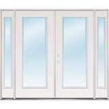 "8'0"" Wide Full Lite Fiberglass Patio Prehung Double Door Unit with Sidelites"
