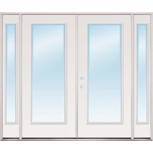 Cheap 8 39 0 wide full lite steel patio prehung double door for Double opening patio doors