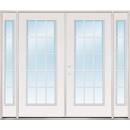 "8'0"" Wide 15-Lite Fiberglass Patio Prehung Double Door Unit with Sidelites"