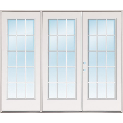 "8'0"" Wide 15-Lite Fiberglass Patio Prehung Triple Door Unit"