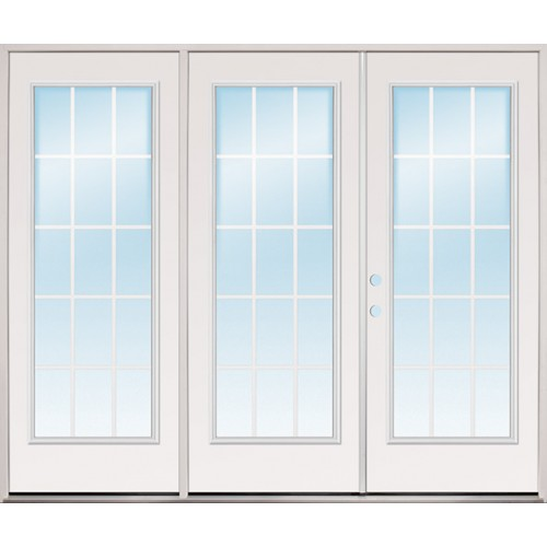 "8'0"" Wide 15-Lite GBG Steel Patio Prehung Triple Door Unit"