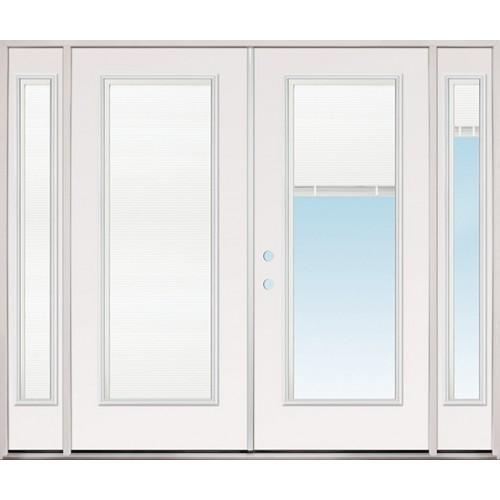 """8'0"""" Wide Miniblind Full Lite Steel Patio Prehung Double Door Unit with Sidelites"""