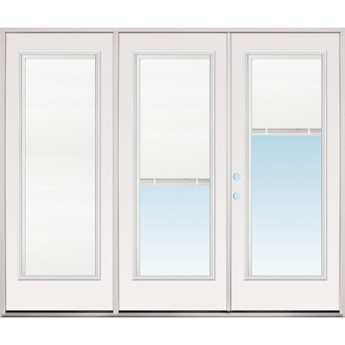 "8'0"" Wide Miniblind Full Lite Fiberglass Patio Prehung Triple Door Unit"