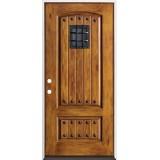Rustic Pre-finished Fiberglass Prehung Door Unit with Speakeasy & Clavos