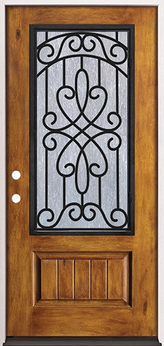 Rustic Pre-finished Fiberglass Prehung Door Unit with Iron Grille #62