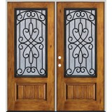 Rustic Pre-finished Fiberglass Prehung Double Door Unit with Iron Grille #62