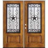 Rustic Pre-finished Fiberglass Prehung Double Door Unit with Star Iron Grille #75