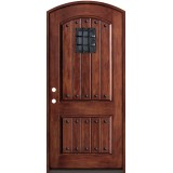 Rustic Fiberglass Prehung Arched Door Unit with Speakeasy & Clavos