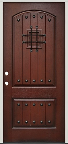 Rustic Pre-finished Mahogany Fiberglass Prehung Door Unit with Speakeasy & Clavos