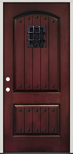 Rustic Pre-finished Mahogany Fiberglass Prehung Door Unit with Metal Speakeasy & Clavos