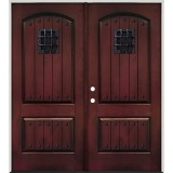 Rustic Pre-finished Mahogany Fiberglass Prehung Double Door Unit with Speakeasy & Clavos