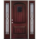 Rustic Pre-finished Mahogany Fiberglass Prehung Door Unit with Sidelites, Speakeasy & Clavos